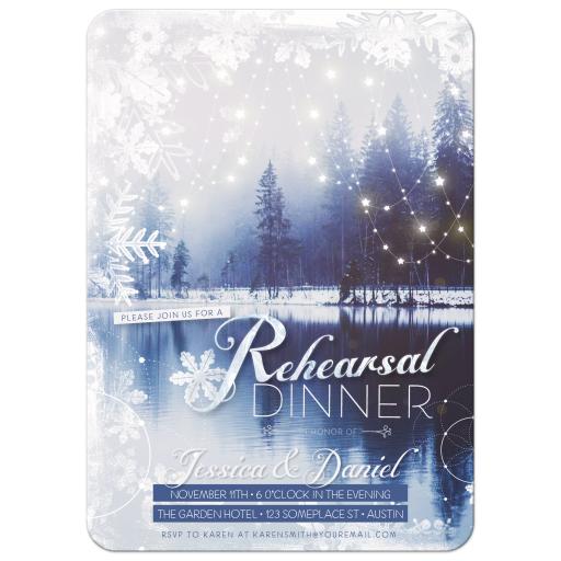 Winter Wedding Rehearsal Dinner Invitation Card
