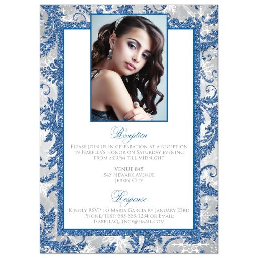Winter wonderland royal blue, silver, gray, grey, and white winter sparkles Quinceañera Sweet 15 invitation with snowflakes and glitter.