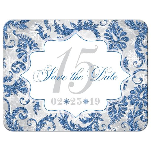 Royal blue, ​silver, gray, grey, and white winter Quinceañera save the date card with snowflakes and glitter.