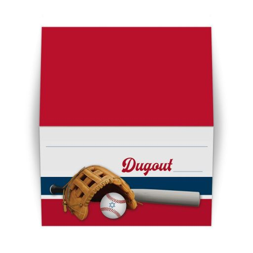 Folded ​Baseball or softball theme bar or bat mitzvah place card or escort card with baseball, baseball glove, and baseball bat on a red, white, and blue background.