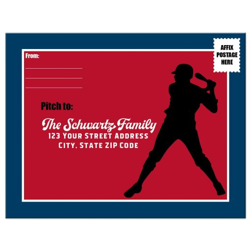 Red, white, and blue Baseball or Softball theme Bar Mitzvah RSVP postcard with Star of David.