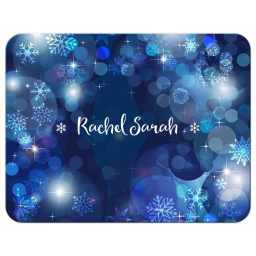 Snowflakes Blue Winter Bokeh Bat Mitzvah Thank You Card
