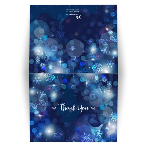 Snowflake Blue Winter Bokeh Bat Mitzvah Folded Thank You Card