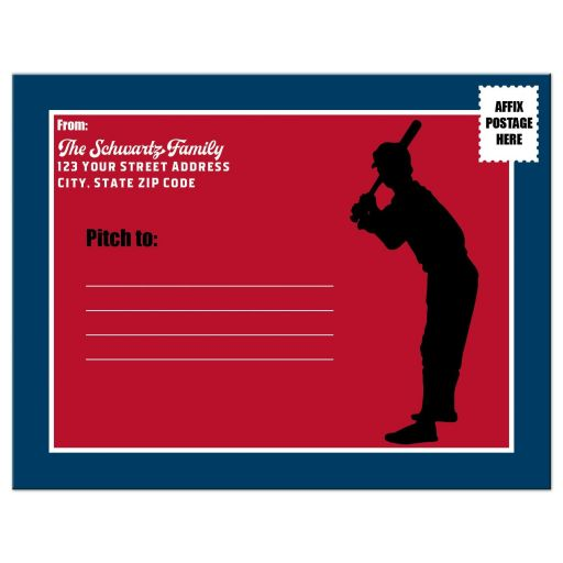 ​Red and blue Baseball or Softball theme Bar Mitzvah or Bat Mitzvah ticket shaped save the date postcard with baseball players, baseball bat, glove, and baseball with Star of David.