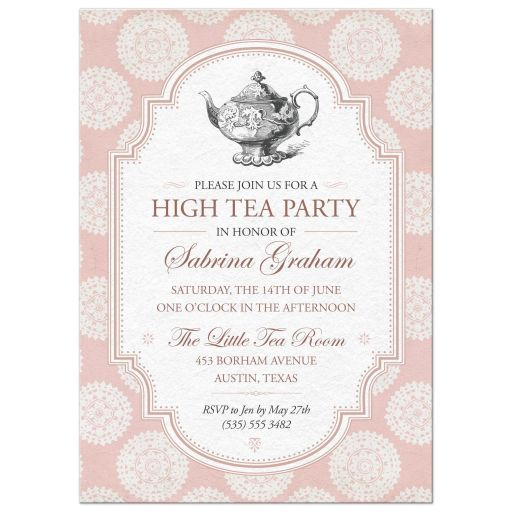 Victorian High Tea Bridal Shower Party Invitation | Pink Rosettes