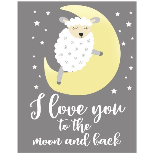 Little Lamb Gray Gender Neutral Love you to the Moon and Back Nursery Print