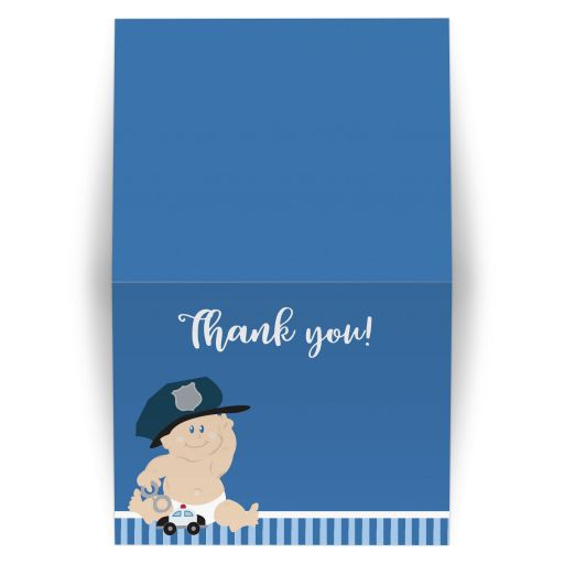 Baby Cop Police Officer Folded Thank You Note Card
