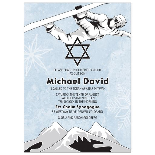 snowboarder snowboarding bar mitzvah invitation front