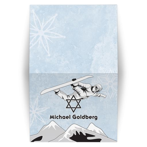 snowboarder snowboarding bar mitzvah personalized thank you card