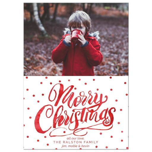 Red Polka Dots Merry Christmas Holiday Photo Cards by The Spotted Olive