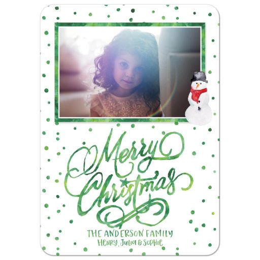 Green Watercolor Polka Dots Merry Christmas Holiday Photo Cards by The Spotted Olive