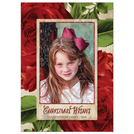 Vintage Christmas Roses Holiday Photo Cards by The Spotted Olive