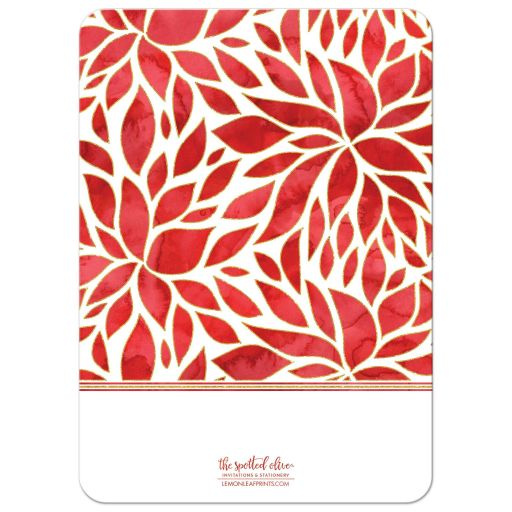Watercolor Poinsettia Holiday Photo Cards by The Spotted Olive - Back