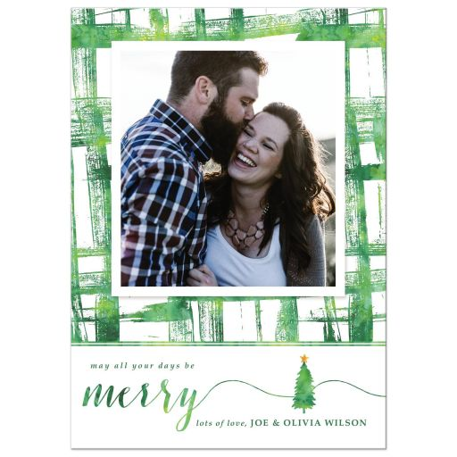 Watercolor Brushstrokes Holiday Photo Cards by The Spotted Olive