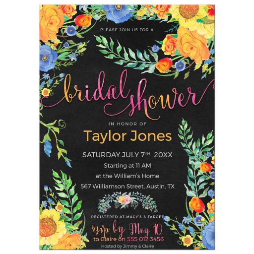 Colorful flowers watercolor bridal shower invites
