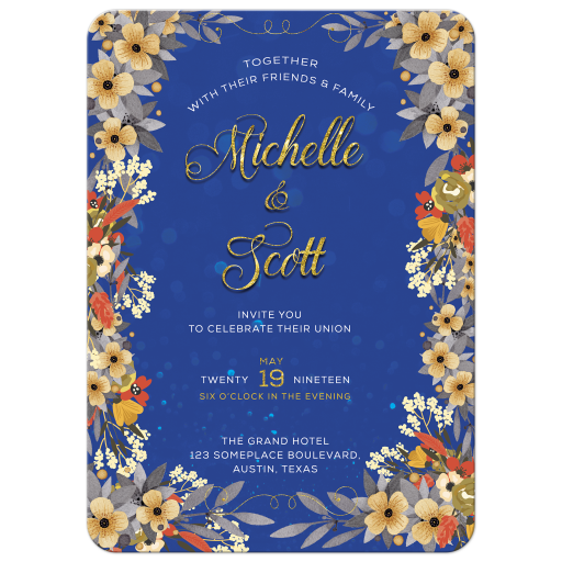 Woodsy Floral Blue and Gold Wedding Invitation