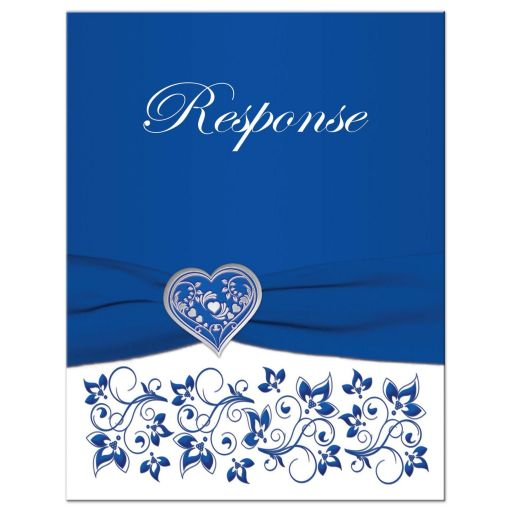 ​Royal blue and white floral wedding RSVP enclosure cards insert with silver heart brooch, ribbon, flowers, and ornate scrolls.