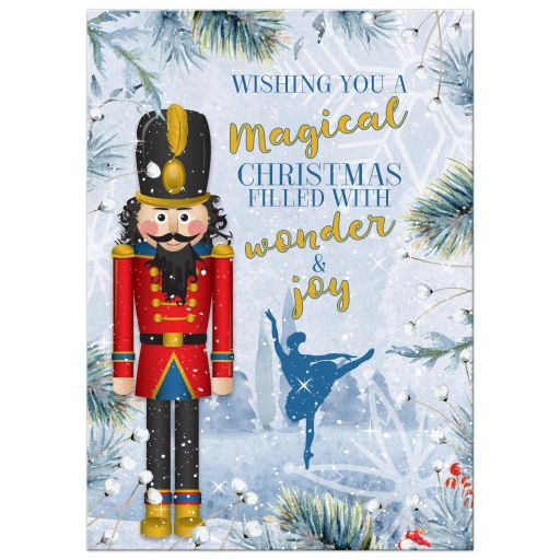 Unique Nutcracker ballet family photo Christmas greeting card front
