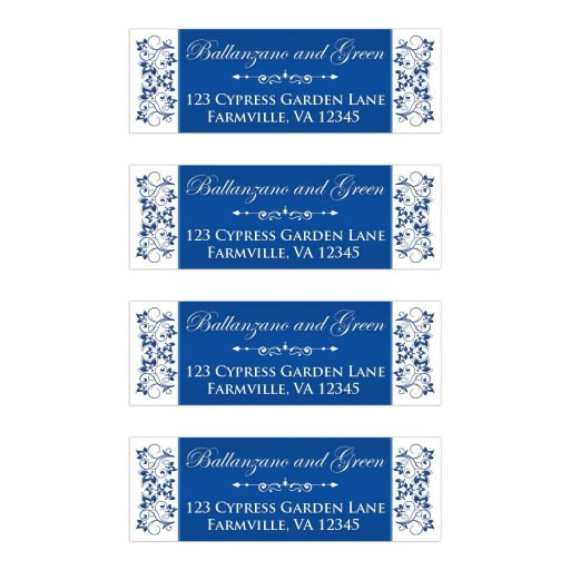 ​Royal blue and white floral wedding return address mailing labels with ornate scroll.