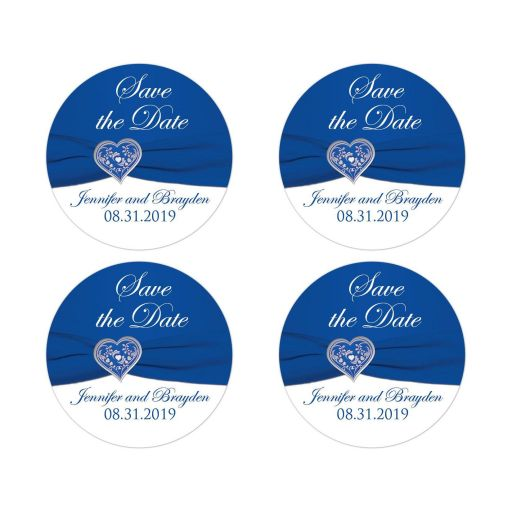 ​Royal blue or cobalt blue and white wedding save the date envelope seals or wedding favor sticker.