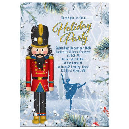 Unique Nutcracker ballet Christmas party invitation with dancing ballerina and winter snow scene front