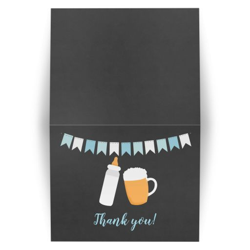 Baby Q Baby is Brewing Boy Co-Ed Baby Shower Thank you Note Folded