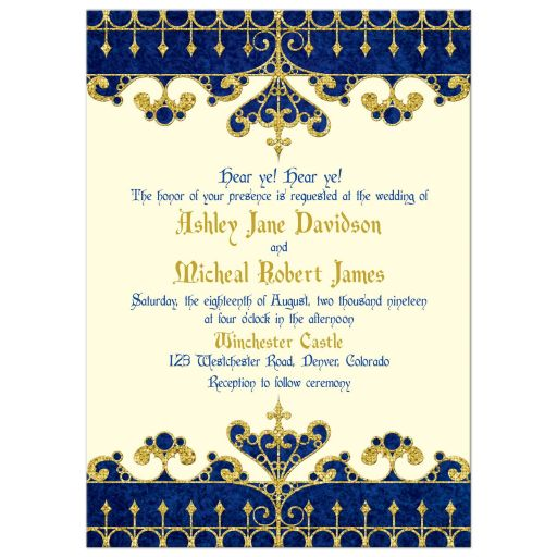 Royal blue, gold, ivory medieval renaissance fairy tale wedding invitation front