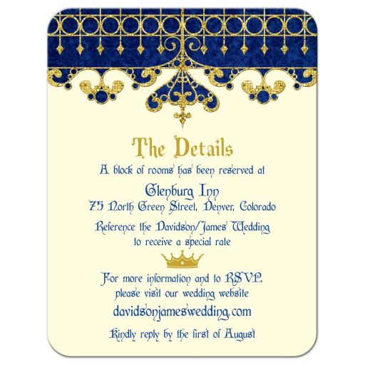 ​Royal blue, gold, ivory medieval renaissance fairy tale wedding details card front