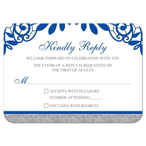 ​Royal blue silver gray and white lace wedding RSVP card front