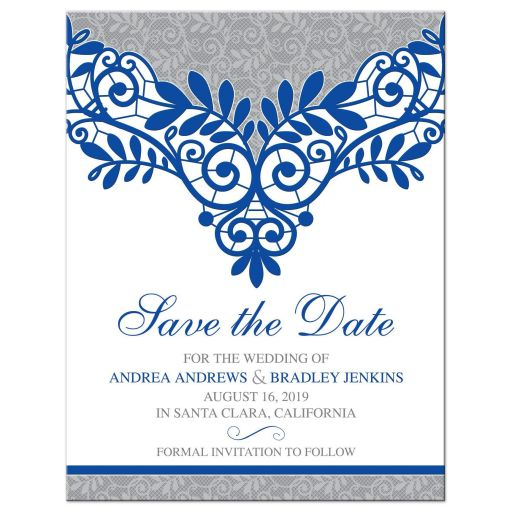​Royal blue silver gray and white lace wedding save the date card front