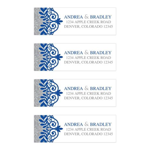 ​Royal blue silver gray and white lace wedding address labels