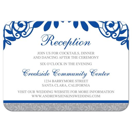 Royal blue silver gray and white lace wedding reception card front