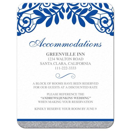 Royal blue silver gray and white lace wedding details accommodations card front