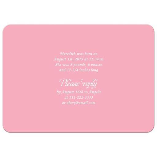 Jewish Hebrew name giving invitation for a girl in pink and mint green with Star of David back
