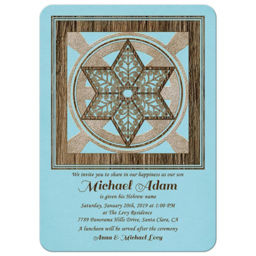 Jewish Hebrew name giving invitation for a boy in blue and brown with rustic woodgrain Star of David front