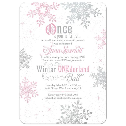 Pink and gray snowflake snow princess winter onederland ball first birthday invitation front