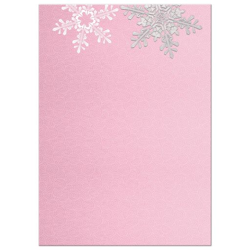 Pink and gray snowflake snow princess winter onederland ball first birthday invitation back