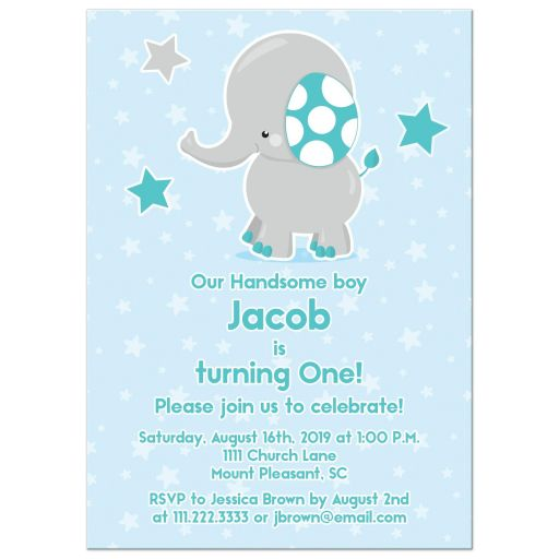 Cute teal, blue, and gray elephant and stars 1st birthday party invitation