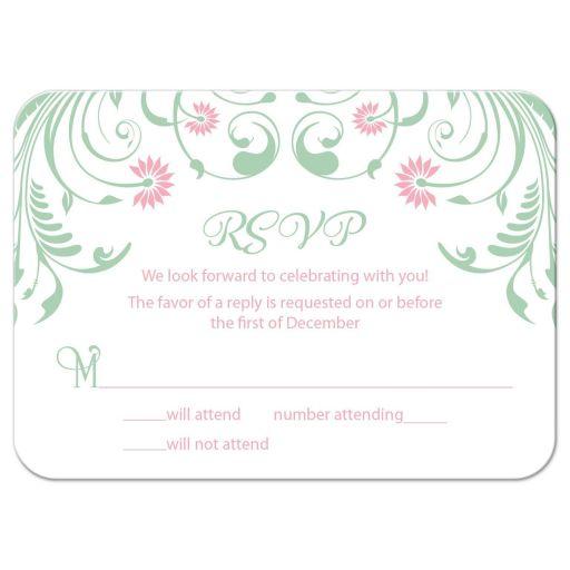 Elegant mint green and pink floral Bat Mitzvah RSVP card front