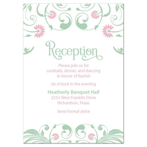 Elegant mint green and pink floral Bat Mitzvah reception card front