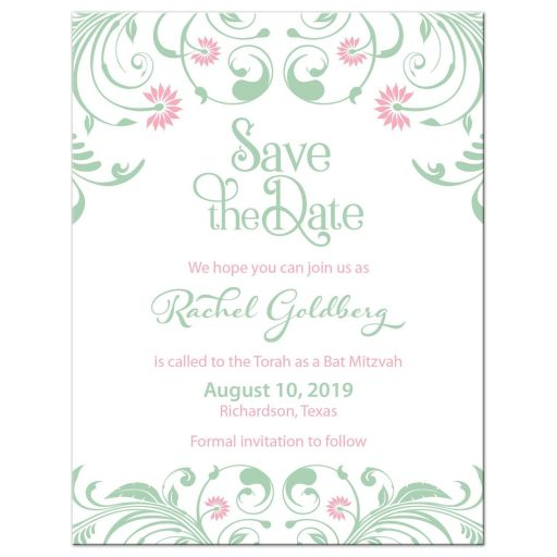 ​Elegant mint green and pink floral Bat Mitzvah save the date card front