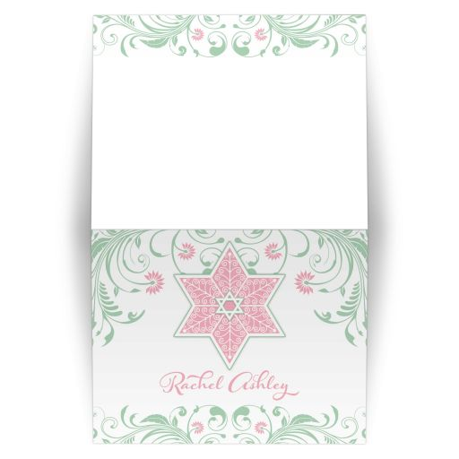 Elegant mint green and pink floral filigree Star of David Bat Mitzvah personalized thank you
