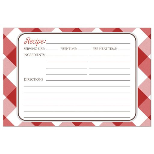 Recipe Cards - Red Gingham Country