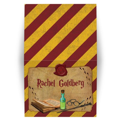 Fun wizarding world wizard witch school of magic Bat Mitzvah folded thank you card