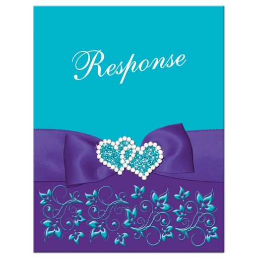 ​Best turquoise or teal blue and purple floral wedding response reply RSVP enclosure card insert with purple ribbon, bow, jeweled joined hearts, ornate scrolls, flourishes, and meal choices.