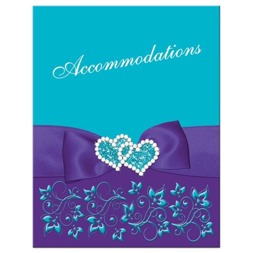 Best turquoise or teal blue and purple floral wedding accommodations enclosure card insert with purple ribbon, bow, jeweled joined hearts, ornate scrolls and flourishes.