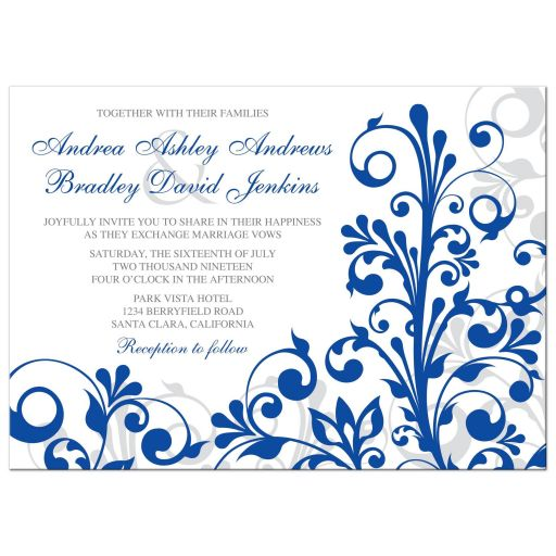 Bold royal blue floral wedding invitation