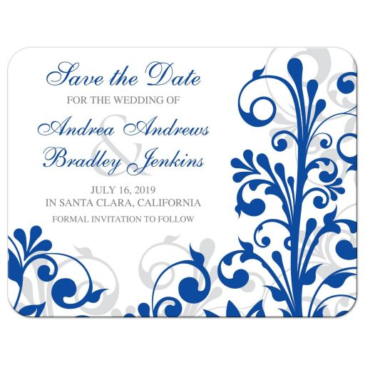 Elegant royal blue and white abstract floral wedding save the date announcement front
