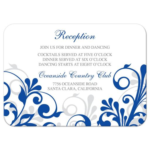 ​Elegant royal blue and white abstract floral wedding reception insert card front