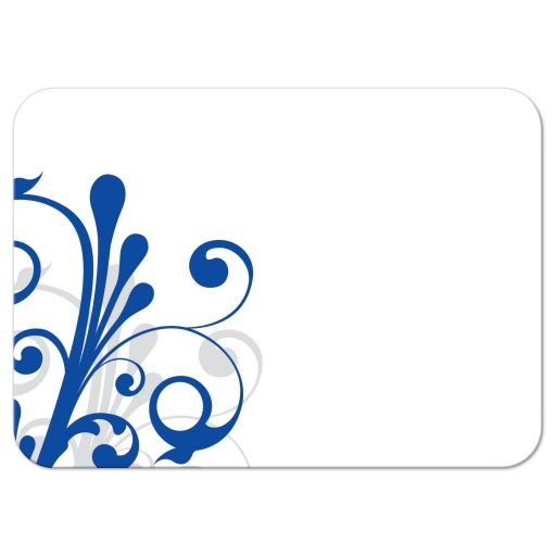 ​Elegant royal blue and white abstract floral wedding reception insert card back